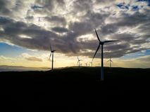 Amazing Silhouette and sunset at Wind Farm, Albany. Amazing Silhouette and sunset at Wind Farm, Albany, Western Australia Stock Photography