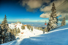 Amazing ski resort in the Carpathians,Poiana Brasov,Romania,Europe. Snowy forest with snowy trees and red cable car moving up in Poiana Brasov famous ski resort Stock Photo
