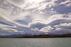 Amazing sky in the Argentino Lake, Argentina Royalty Free Stock Images
