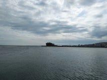Caspian sea. Amazing sky and Caspian sea royalty free stock image