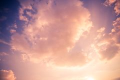 Dreamy clouds and soft sunlight. Inspirational skyscape background royalty free stock photography