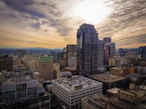 Amazing sky in the middle of downtown Portland Oregon on a winter day stock photos