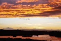 Amazing sky over Lake Myvatn at Sunset Royalty Free Stock Images