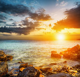 Amazing sky over the sea. Sunset landscape Royalty Free Stock Photography