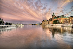Amazing sky over Stockholm. Beautiful cloudscape over bay in Stockholm royalty free stock photos