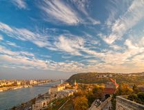 Amazing sky with picturesque clouds over Danube river and Buda hills in the central area of Budapest, Hungary. Castle gate tower, Danube embankment, Citadella stock photos