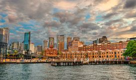 The Rocks District, Sydney`s city center. Sydney, Australia. Amazing sky at sunset above The Rocks District, Sydney`s city center. Sydney, Australia royalty free stock image
