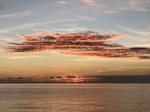 Amazing sky at the sunset on the Indian Ocean, Maldives Royalty Free Stock Photo