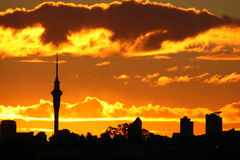 Amazing Sky Tower Sunset Royalty Free Stock Photo