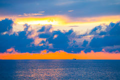 Amazing sky and water at sunset over Baltic sea, Tallinn, Estonia Royalty Free Stock Image