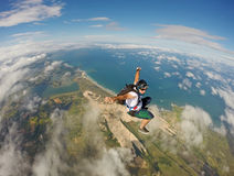 Amazing Skydiving in Brazil beach Royalty Free Stock Image