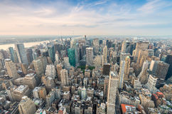 Amazing skyline of Manhattan. New York aerial view Royalty Free Stock Photos