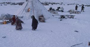 Amazing small children playing together in the middle of Arctic in a yurts camp , typical day , some men around working. 4k stock footage