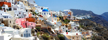 Amazing small white houses of Santorini Stock Photos