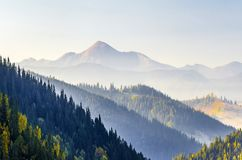 Amazing soft sunrise panorama in mountains. Cerpathian mountain stock photography