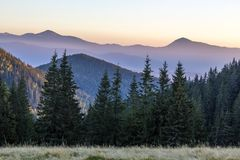 Amazing soft sunset in mountains. Cerpathian mountain peaks and Royalty Free Stock Photo