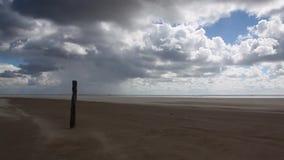 On the amazing Sonderstrand beach on the Romo peninsula, Jutland, Denmark. stock footage