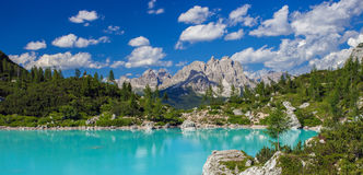 Amazing Sorapis lake. Amazing view of Sorapis lake with unusual color of water. Lake located in Dolomite Alps, Italy stock images