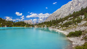 Amazing Sorapis lake. Amazing view of Sorapis lake with unusual color of water. Lake located in Dolomite Alps, Italy royalty free stock images