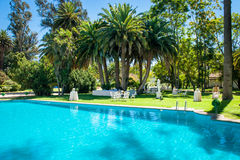 Amazing spring garden. With a pool in the foreground Stock Photos