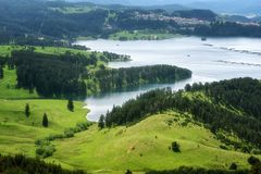 Amazing Spring Landscape of Dospat Reservoir, Smolyan Region royalty free stock images