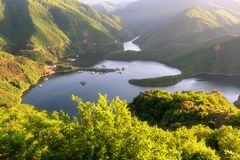 Amazing Spring landscape of Meander of Vacha Antonivanovtsy Reservoir, stock photo