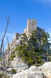 Amazing St. Hilarion Castle in Kyrenia region, Northern Cyprus captured on vertical photography with blue sky above. Amazing St. Hilarion Castle in Kyrenia royalty free stock images