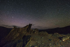 Amazing starry night in the  mountains Stock Photography