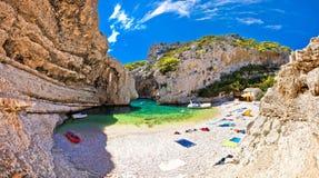 Amazing Stinva beach of Vis island Stock Images