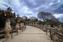 Parc Guell is the famous and beautiful park designed by Antoni Gaudi Stock Photos