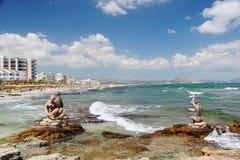 Amazing stone figures on Mediterranean coast line. Palma Majorka. Spain, Blue sky and white clouds. Waves. Stor. Amazing stone figures on Mediterranean coast Royalty Free Stock Photography