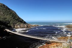 Storms River Suspension Bridge, Eastern Cape, Tsitsikamma National Park, South Africa. Amazing Storms River Suspension Bridge, Eastern Cape, Tsitsikamma National Royalty Free Stock Images