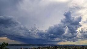 Free Amazing Stormy Clouds Over The City. Stock Photography - 214468532
