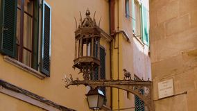 Amazing street lantern in the historic district of Pisa. Tuscany Italy stock footage