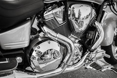 Amazing stunning side detailed view of old monochrome motorcycle engine Stock Photos