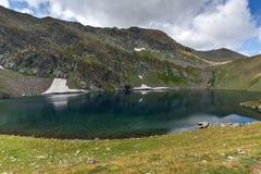 Summer view of The Eye Lake, Rila Mountain, The Seven Rila Lakes, Bulgaria stock images