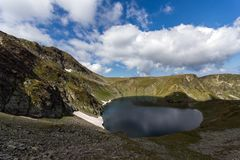 Summer view of The Eye Lake, Rila Mountain, The Seven Rila Lakes, Bulgaria royalty free stock photography