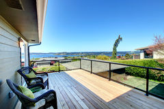 Amazing summer view from a walkout wood deck Royalty Free Stock Image