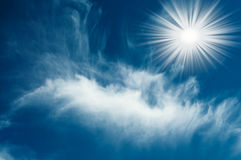 Amazing sun in the blue sky. Royalty Free Stock Photos