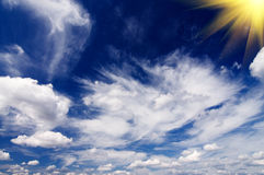 Amazing sun in the blue sky. Royalty Free Stock Image