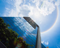 Amazing sun halo over the Building. Royalty Free Stock Images