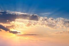 Amazing Sundown Sky with Real Sunbeams and Sun Royalty Free Stock Image