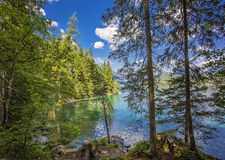 Amazing sunny summer day on the Hintersee lake Stock Image