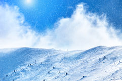 Amazing sunny winter landscape with snow and blue sky Stock Image