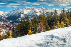 Majestic alpine winter landscape with high mountains, France, Europe Stock Photos