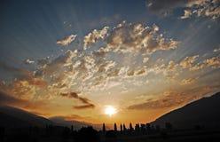 Amazing sunrise. A 1000 sunbeams in a sunrise - Romania, Neamt County royalty free stock photos