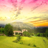 Amazing sunrise above Provence farmland. Stock Photos
