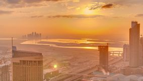 Amazing sunrise aerial view of Dubai downtown skyscrapers morning timelapse, Dubai, United Arab Emirates. Amazing sunrise aerial view of Dubai downtown stock video