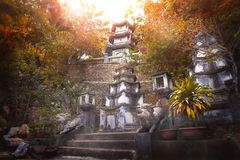 Amazing Sunrise at Buddhist Temple Stock Image