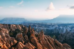Amazing sunrise in Cappadocia, Turkey Royalty Free Stock Images